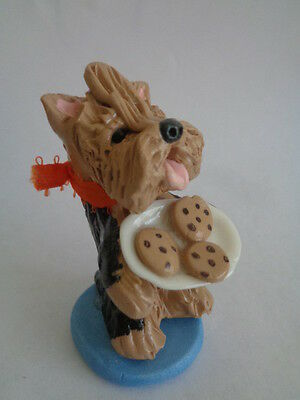 Hand Sculpted~Yorkshire Terrier Eating Chocolate Chip Cookies****art Figurine