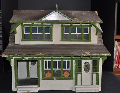 Antique Folk Art Wooden Arts and Craft House Architectural Model