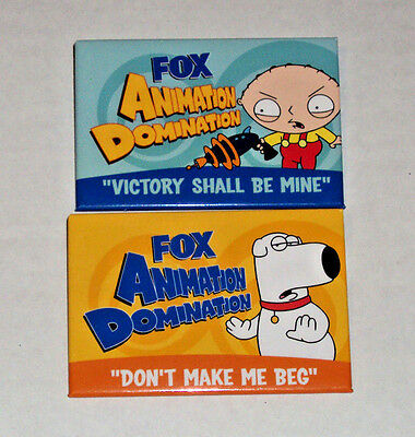 Family Guy 2 Promo Pin Back Badge Button Lot Fox Animation Domination Rare Brian