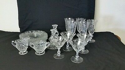 Cambridge ROSE POINT Etched Clear Crystal 21 Pieces Beautiful VINTAGE