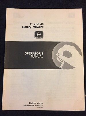 John Deere Operator's Manual 41 & 48 Rotary Mowers OM-M49677 Issue A1.. 18 Pages