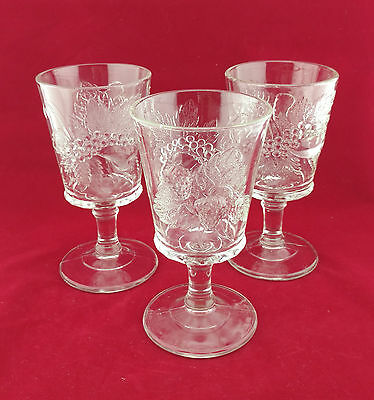 3 - L G Wright Glass Company Clear Strawberry and Currant Water Goblets