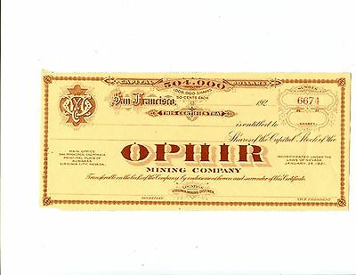 Unissued   192X Ophir Mining Co. Hqtrs in San Francisco Mine In Virginia City Ne