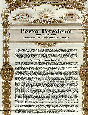 1920 Power Petroleum $100 Bond W/ 19 Coupons  A Texas Oil Co.