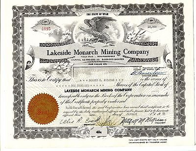 10,000 Share of Lakeside Monarch Mining Company State of Utah