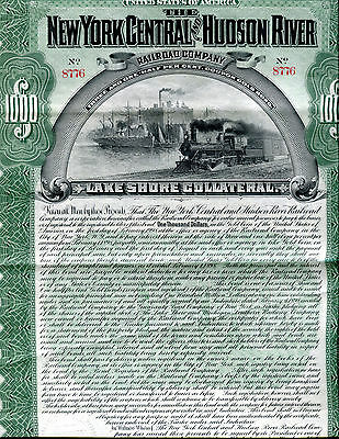 1898 New York Central and Hudson River Railroad $1000 Bond W/50 Coupons