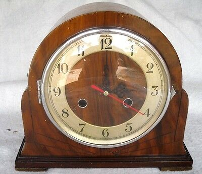 Vintage 1930s Art Deco Smiths Enfield Wooden Clock,Digital Conversion,Working.