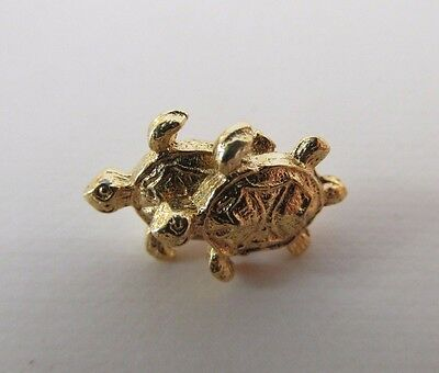 Gold Tone Double Turtle on Turtle  Pin with Clutch Back