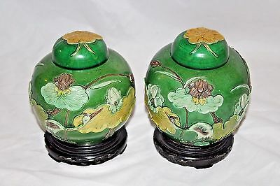 Antique Chinese Porcelain Ginger Jars Pair W/ Dome Covers Bases Wang Bing Rong