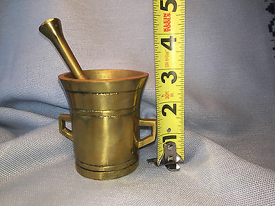 Vintage Brass Mortar and Pestle FROM DENMARK 2 7/8 Inches Tall Heavy, Well Made!