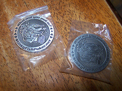 """Lot of 2 Stinky Fish Metal Poker Chip Card Guard """"What Will You Pull In"""" LOOK!"""