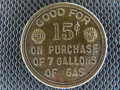 Shell Gas Token 6 cents on Qt Oil 15 Cents 7 Gal Gas 4428 Milwaukee Agatite T1S6