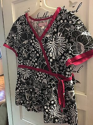 Koi By Kathy Peterson XL (Hot Pink & Black) Flowered Scrub Top