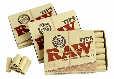 3 Packs of 21 RAW PRE ROLLED TIPS Natural Prerolled for Cigarette Filter Rolling