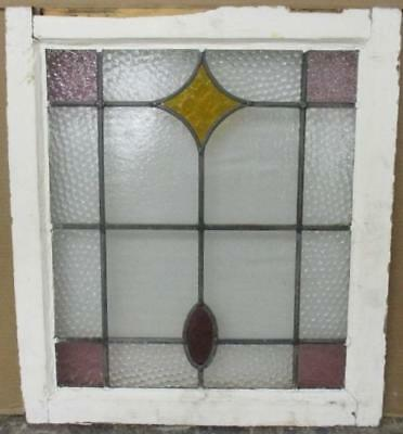 """OLD ENGLISH LEADED STAINED GLASS WINDOW Pretty Geometric Abstract 20.25"""" x 23"""""""