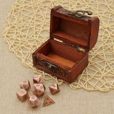 Solid Metal 7 Dice Set Antique Copper Color Polyhedral RPG Table Game Tool 1 Set