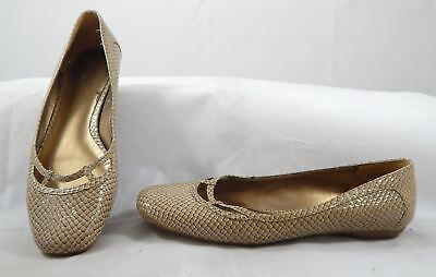 453e7587e Ann Taylor Loft womens loafers flats rubber sole shoes 6 M beige faux  reptile
