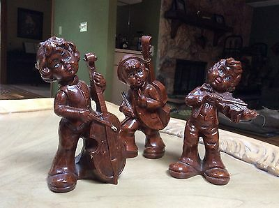 Antique numbered wooden children musician figurines from Italy set of 3