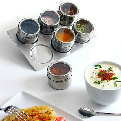 Portable Salt Pepper Spice Jars Flavoring Container Magnetic Tin Stainless Steel