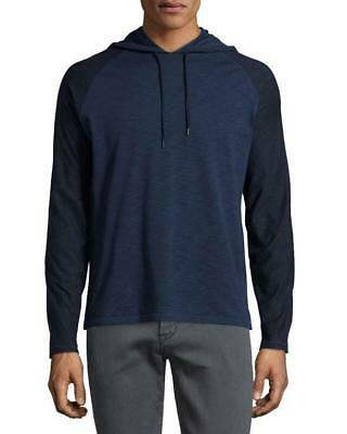 John Varvatos Star USA Contrast-Sleeve Pullover Hoodie, Twilight Blue Large