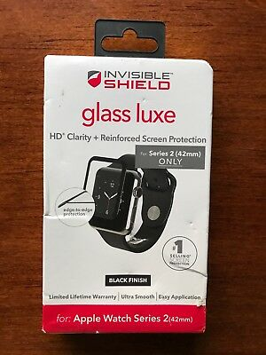 ZAGG Invisible Shield Glass Luxe Apple Watch Protector Series 2 42mm ONLY BLACK
