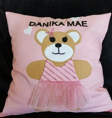 "New Decorative Personalized Pillow Child's Bear gift  15""X15"""