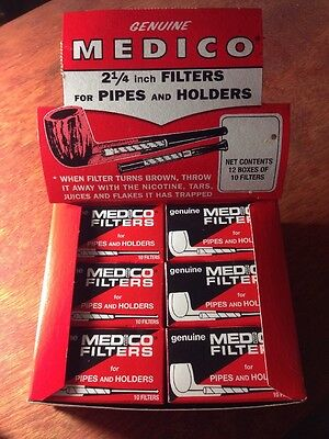 "Genuine Medico Tobacco Pipe & Cigar Holder Filters BOX of 120 -NEW 2 1/4"" Filter"