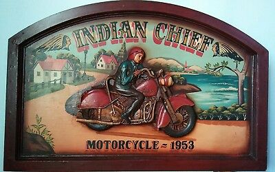 INDIAN Chief MOTORCYCLE 1953 SIGN Wooden 3D Painted Rare vintage
