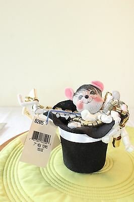 """Annalee New Year Doll 7"""" New Years Mouse In Hat 1998 8205 NMWT"""
