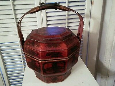 Antique Rare Octagon Shape Hand Painted Lacquered Wood Chinese Wedding Basket