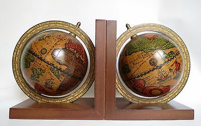 Vintage Old World Globe Bookends Italy / Wood and Paper / Globes Spin on Axis