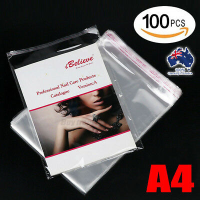 100x Cello Bag Cellophane A4 340 x 220mm Clear Resealable Plastic Self Sealing