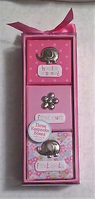Baby Essentials Three Keepsake Boxes - Bracelet / Tooth / Curl - PINK - NEW