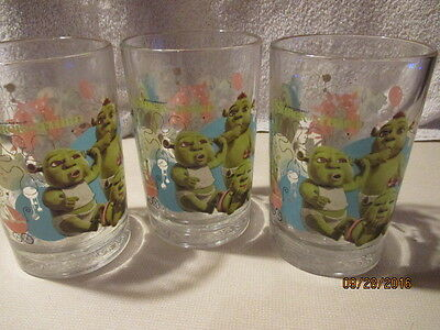 3 SHREK - The Third Glasses - All 3 are the same.  2007 MacDonald's