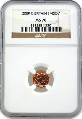 2009 Great Britain Gold 1/4 Sovereign NGC MS70
