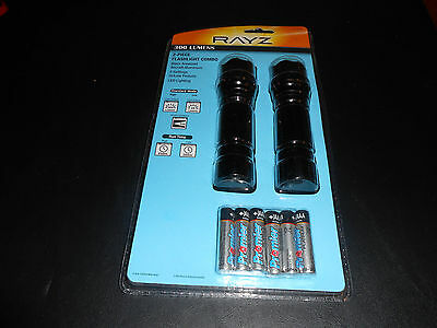 New in Package (RAYZ) Twin Pack Tough, Durable 300 Lumens Flashlight W/Batteries