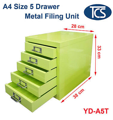 NEW A4 Size 5 Drawer Metal Filing Unit White Storage Cabinet Office Furniture