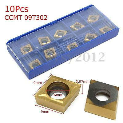 10pcs Gold Carbide Tips Inserts Blade CCMT 09T302 Cutter Turning Tool With Box