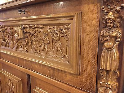 A Stunning and Rare Antique Dutch Heavily Carved Oak Sideboard