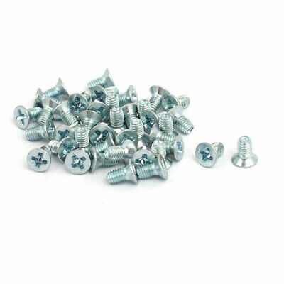 M3x6mm Countersunk Phillips Head Triangle Thread Screw Bolt Silver Blue 40pcs