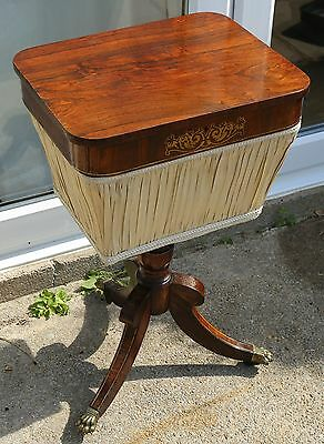Antique Regency Rosewood and Brass Inlaid Sewing Table / Work Table