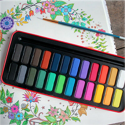 Portable Students Stationery Solid Watercolor Paints+Drawing Brush+Metal Box Set