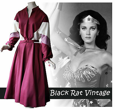Vintage 1970s Block Colour Batwing Flared Disco MOD Rockabilly Jersey Dress UK14