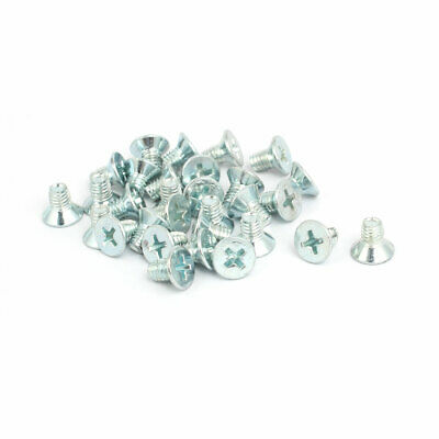 M5x8mm Countersunk Phillips Head Triangle Thread Screw Bolt Silver Blue 30pcs