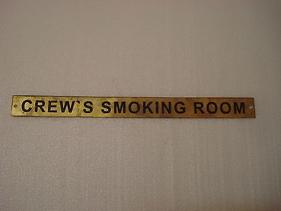 CREW`S SMOKING ROOM – Marine BRASS Door Sign - Nautical - 12 x 1 Inches (156)