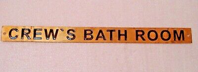 CREW'S BATH ROOM  – Marine BRASS Door Sign - Nautical -12 x 1 Inches (158)
