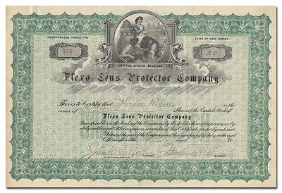 Flexo Lens Protector Company Stock Certificate (Early Auto Head Light Invention)