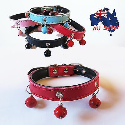 Genuine Real Leather Pet Dog Cat Collar Bell Soft Padding Pink Red Blue Black