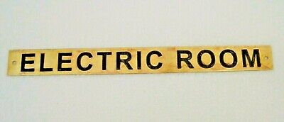 ELECTRIC ROOM – Marine BRASS Door Sign -  Boat/Nautical - 10 x 1 Inches (180)