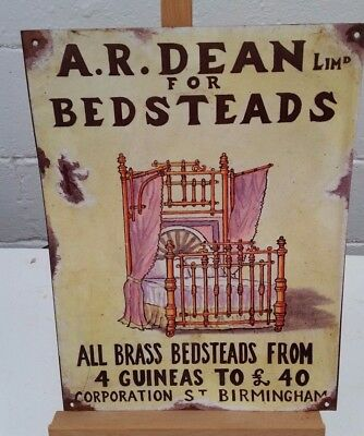 Vintage Antique Enamel/Tin Advertising Sign 1980s Reproduction - Dean Bedsteads